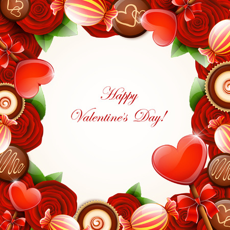 hearts and roses: Valentines day background Illustration