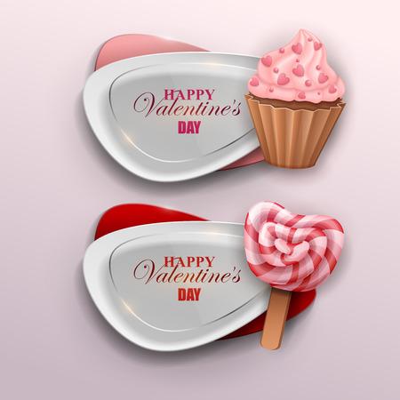 Valentines day banners set. Vector illustration. Illusztráció