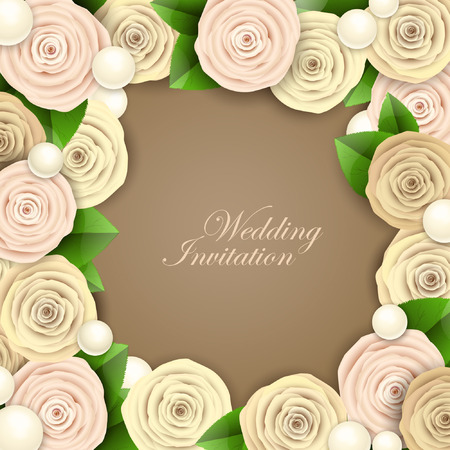 wedding: Wedding background with roses Illustration