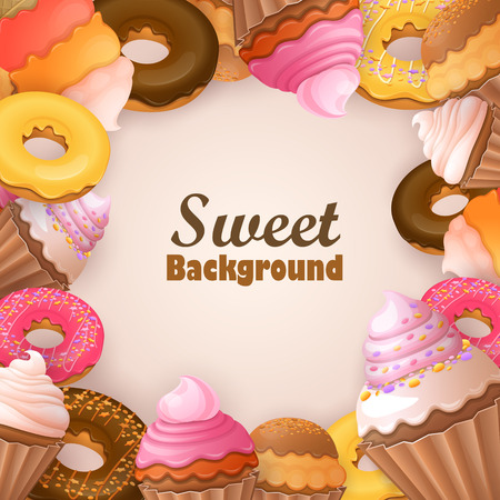 caramel candy: Abstract background with sweets Illustration