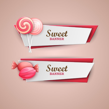 sweet foods: Sweet banners set Illustration