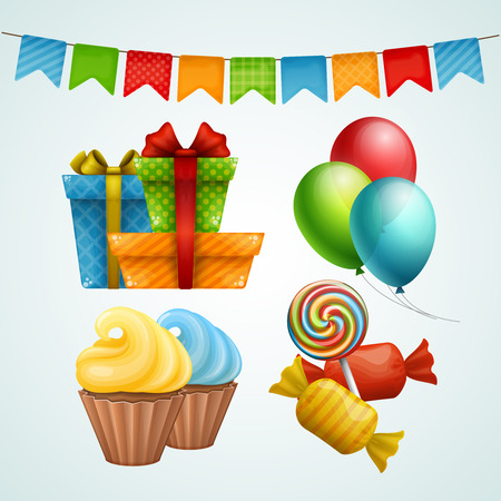 Set of birthday party elements. Vector illustration.