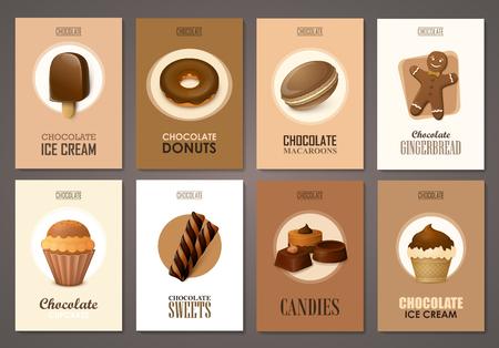 helado de chocolate: Conjunto de folletos con los dulces. plantillas vectoriales. Fondos con helado de chocolate, magdalenas y dulces.