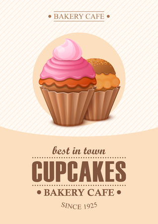 Poster vector template with cupcakes. Advertising for bakery shop or cafe. Illusztráció