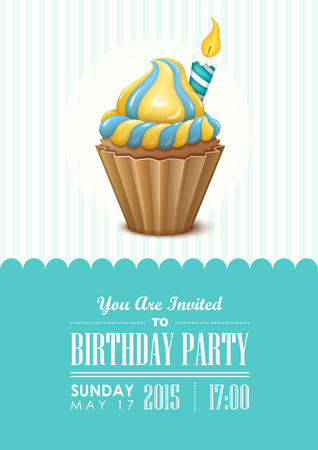 birthday party: Poster vector template with birthday cupcake. Birthday party invitation. Illustration