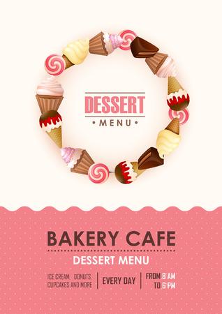 bonbons: Poster Vektor-Vorlage mit Süßigkeiten. Werbung für Bäckereigeschäft oder Café.