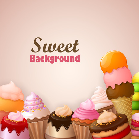 sweet pastry: Abstract background with sweets Illustration