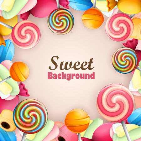 sweet food: Abstract background with sweets Illustration