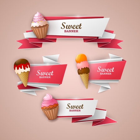 sweet food: Sweet banners set Illustration