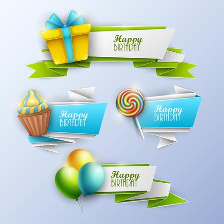 Set of birthday banners. Vector illustration. Illusztráció