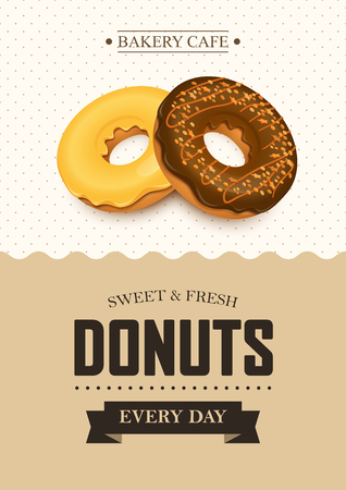 Poster vector template with donuts. Advertising for bakery shop or cafe.