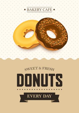 Plakat Vektor-Vorlage mit Donuts. Werbung für Bäckereigeschäft oder Café.