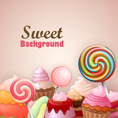 birthday backdrop: Abstract background with sweets Illustration