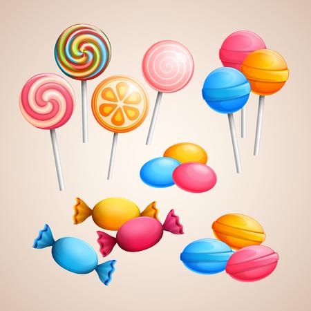 paleta de caramelo: Conjunto de caramelos brillantes de vectores