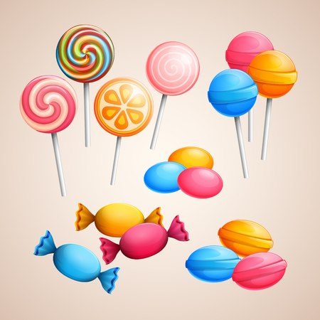 caramel candy: Set of bright vector candies Illustration