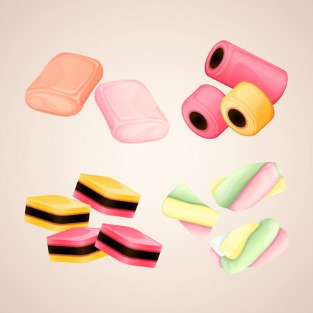 goma de mascar: Conjunto de caramelos brillantes de vectores
