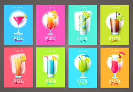 Set of cocktail party invitations, flyers, brochures. Vector templates.