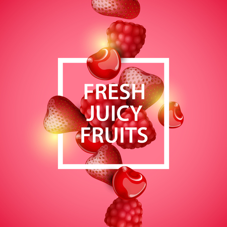 layout strawberry: Vector colorful background with berries. Illustration