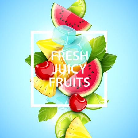 fruit: Vector colorful background with fruits and berries.