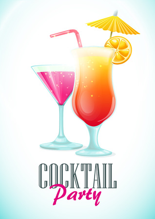 Poster vector template with cocktails. Party invitation.