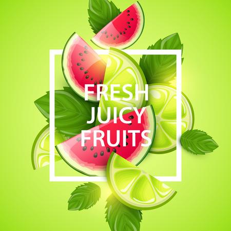 jugo de frutas: colorido del fondo del vector con las frutas. Vectores