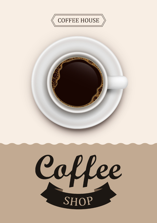 Poster vector template with coffee. Advertising for coffee shop or cafe.