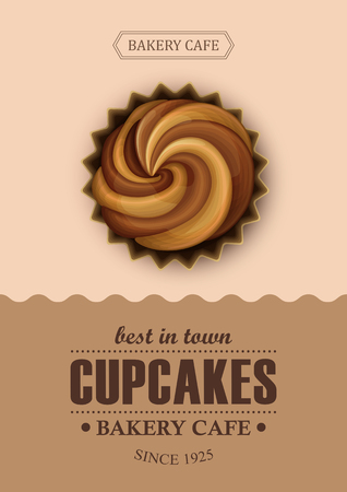 chocolate cupcakes: Poster vector template with chocolate cupcakes. Advertising for coffee shop or cafe.