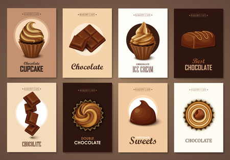 caramel candy: Set of brochures with chocolate sweets. Vector templates. Backgrounds with chocolate, cupcakes and candies. Illustration