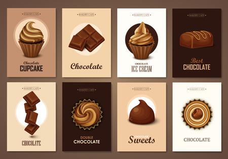 bonbons: Set von Broschüren mit Schokoladenbonbons. Vektor-Vorlagen. Hintergründe mit Schokolade, kleine Kuchen und Süßigkeiten.