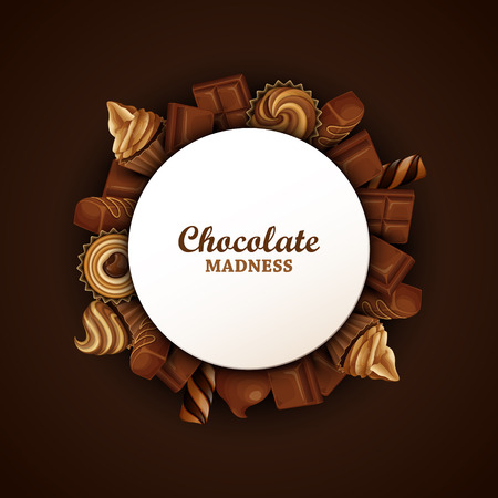 Abstract background with chocolate and cupcakes.