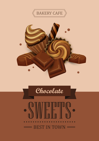 chocolate cupcakes: Poster vector template with chocolate, cupcakes and sweets. Advertising for coffee shop or cafe.
