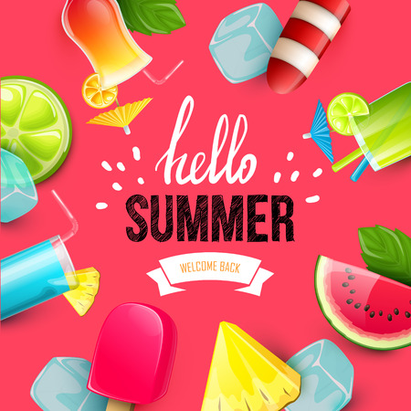 mixed wallpaper: Summer colorful poster. Vector background with fruits. Hello summer handwritten text.