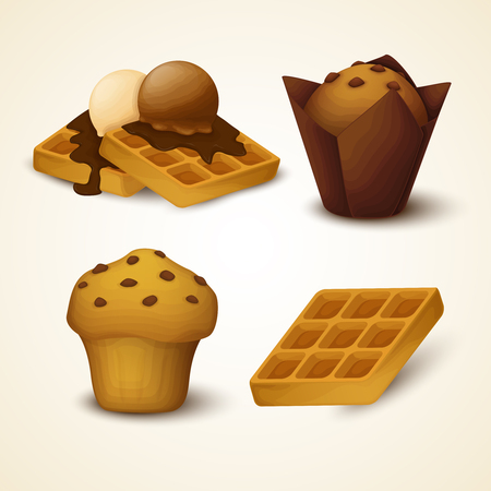 Vector set of cupcakes and waffles