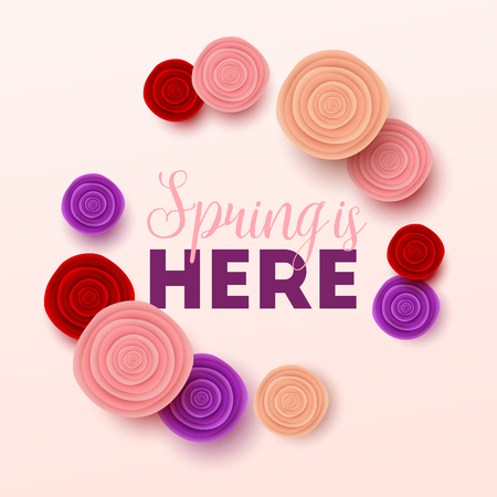 Spring background with flowers. Vector illustration.