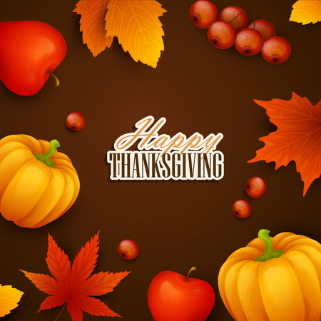 vintage postcard: Thanksgiving background. Vector colorful background with autumn leaves and pumpkins.