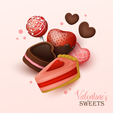 Valentine`s day background with sweets. Vector illustration.