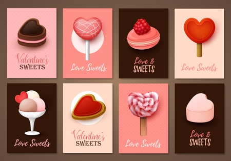 Set of Valentines day brochures. Vector templates. Valentine`s day backgrounds.