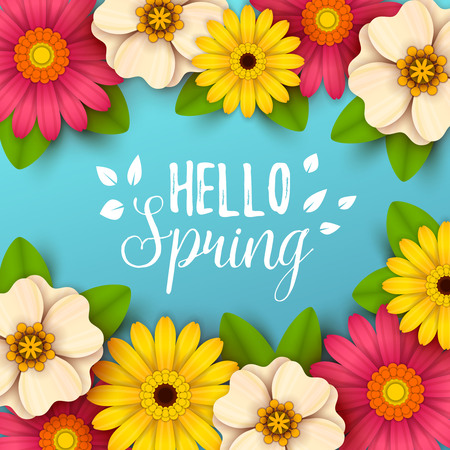Hello spring text with colorful, beautiful flowers design.