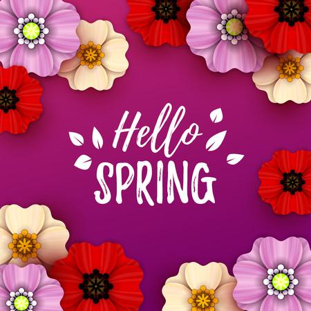 Colorful spring background with beautiful flowers. Vector illustration Illusztráció