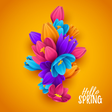 Colorful spring background with beautiful flowers. Vector illustration.  イラスト・ベクター素材