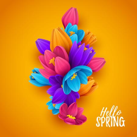 Colorful spring background with beautiful flowers. Vector illustration. Illusztráció
