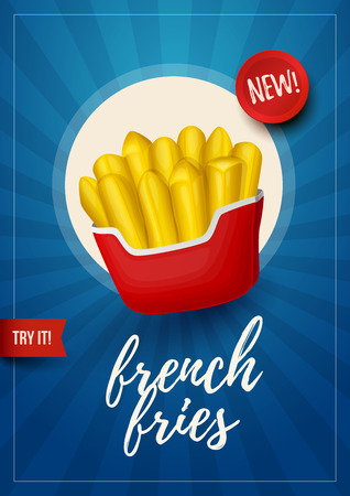 Colorful fast food background. Retro French Fries poster. Vector Illustration