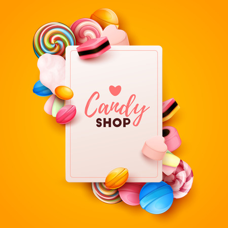 Colorful background with sweets. Vector Illustration Stock Illustratie