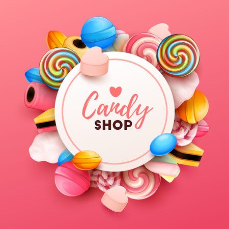 Fond coloré avec des bonbons. Illustration vectorielle Vecteurs