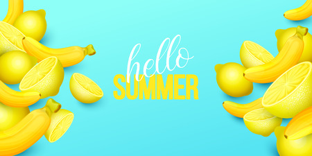 Summer background with fruits. Vector illustration.  イラスト・ベクター素材
