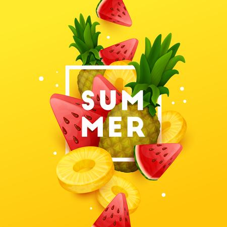 Summer background with fruits. Vector illustration. Illustration