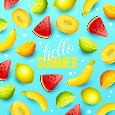 Summer background with fruits. Vector illustration. Ilustração