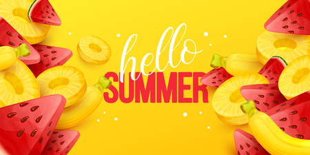 Summer background with fruits. Vector illustration. Иллюстрация