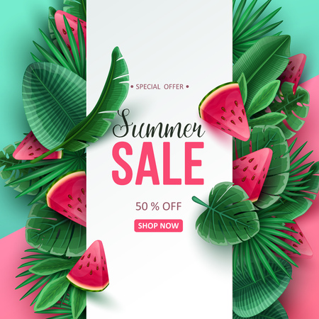 Summer sale background with tropical fruits and palm leaves. Vector illustration. Illusztráció