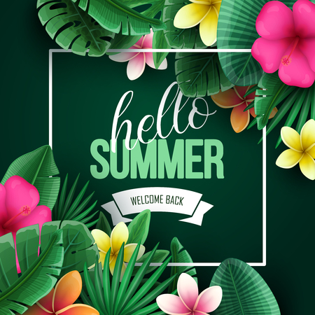 Colorful summer background with tropical flowers and palm leaves. Vector illustration. Illusztráció